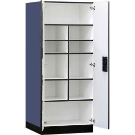 "Salsbury Designer Wood Storage Cabinet - Standard - 32"" W x 24"" D x 76"" H - Blue - Assembled"