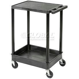 Luxor® Tray & Flat Shelf Plastic Utility Carts with Aluminum Reinforced Shelves