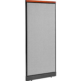 "Deluxe Non-Electric Office Partition Panel with Raceway, 36-1/4""W x 77-1/2""H, Gray"