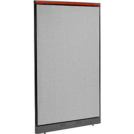"""Deluxe Non-Electric Office Partition Panel with Raceway, 48-1/4""""W x 77-1/2""""H, Gray"""
