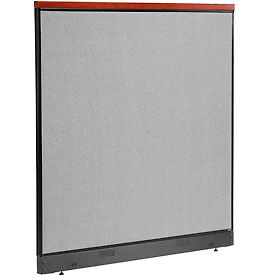 """Deluxe Non-Electric Office Partition Panel with Raceway, 60-1/4""""W x 65-1/2""""H, Gray"""