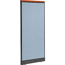 """Deluxe Non-Electric Office Partition Panel with Raceway, 36-1/4""""W x 77-1/2""""H, Blue"""