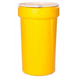 Eagle 55 Gal. Yellow Plastic Open-Head Tapered Lab Pack Drum 1655 - Plastic Lever Lock