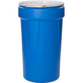 Eagle 55 Gal. Blue Plastic Open-Head Tapered Lab Pack Drum 1655MB - Metal Lever Lock