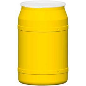 Eagle 55 Gal. Yellow Plastic Open-Head Straight Lab Pack Drum 1656 - Plastic Lever Lock