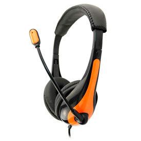 Single Plug Headset with Microphone, Orange