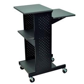 "Luxor 4-Shelf Mobile Presentation Workstation, 18""W x 30""D x 40-1/4""H, Dark Gray"