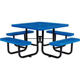 "46"" Square Perforated Picnic Table, Blue"