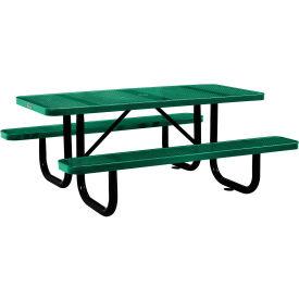 "72"" Rectangular Perforated Picnic Table, Green"