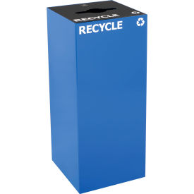 Steel Recycling Container with Combo Opening - 36 Gallon Capacity Blue