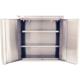 """Jamco Stainless Steel Wall Mount Cabinet KS130 - All-Welded with 2 Adj. Shelves 30""""W x 12'D x 30""""H"""