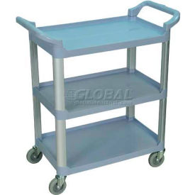 Luxor SC12G Gray 3-Shelf Plastic Serving Utility Cart 200 Lb. Capacity by