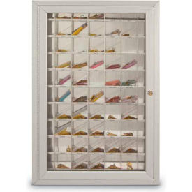 "Aluminum Key & Credit Card Cabinet, 70 Pockets, 23""W x 3-1/4""D x 35""H, Satin"