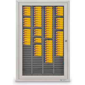 "Aluminum Badge & Time Card Cabinet, 240 Slots, 44""W x 3-1/4""D x 35""H, Satin"