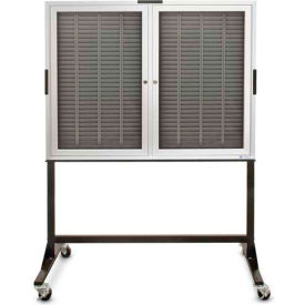 "Aluminum Badge & Time Card Cabinet On Stand, 120 Slots, 22""Wx3-1/4""Dx35""H, Satin"