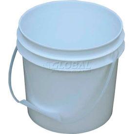 Vestil 1 Gallon Open Head Plastic Pail PAIL-1-PWP with Plastic Handle - White