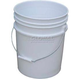 Vestil 5 Gallon Open Head Plastic Pail PAIL-54-PWS with Steel Handle - White