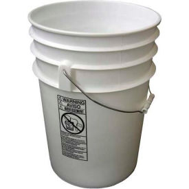 Vestil 6 Gallon Open Head Plastic Pail PAIL-6-PWS with Steel Handle - White