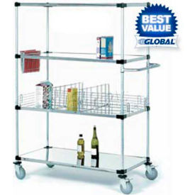 Nexel® Stainless Steel Shelf Truck 48x18x92 1200 Lb. Capacity with Brakes