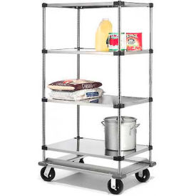 Nexel® Stainless Steel  Shelf Truck with Dolly Base 48x18x81 1600 Lb. Cap.