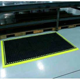 "Workmaster II HV Anti-Fatigue Mat, 3 Side Border, 38""x64"", Black/Hi-Viz Yellow"