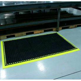"Workmaster II HV Anti-Fatigue Mat, 3 Side Border, 38""x124"", Black/Hi-Viz Yellow"
