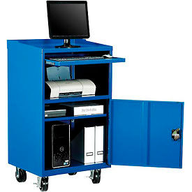 "Mobile Computer Cabinet, 27""W x 24""D x 49-1/4""H, Blue, Unassembled"