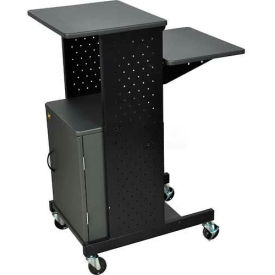 "Luxor 4-Shelf Mobile Presentation Workstation with Cabinet, 18""W x 30""D x 40-1/4""H, Dark Gray"