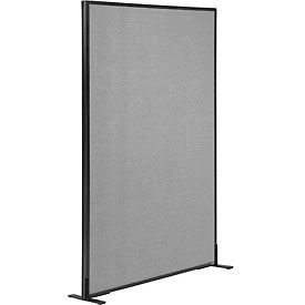 "Freestanding Office Partition Panel, 36-1/4""W x 60""H, Gray"