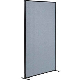 """Freestanding Office Partition Panel, 36-1/4""""W x 72""""H, Blue"""