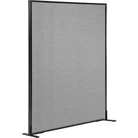 "Freestanding Office Partition Panel, 48-1/4""W x 60""H, Gray"