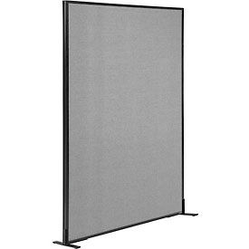 """Freestanding Office Partition Panel, 48-1/4""""W x 72""""H, Gray"""
