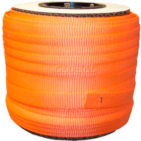 "Woven Polyester Strapping 3/4"" x .050"" x 250' Orange - Pkg Qty 10"