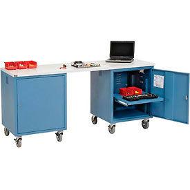 72 x 24 Plastic Square Edge Mobile Pedestal Workbench Blue