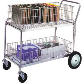 "Wesco® Office & Mail Cart 272231 43x23.75 5"" Rubber Casters & 10"" Wheels"