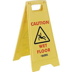 Global™ Floor Sign 2 Sided - Caution Wet Floor