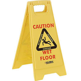 Global™ Floor Sign 2 Sided Multi-Lingual - Caution