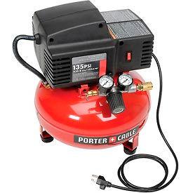 Porter Cable® PCFP02003, 0.8 HP, Hand Carry, 3.5 Gallon, Pancake, 135 PSI, 2 CFM, 1-Phase 120V