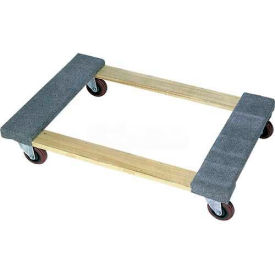 """Wesco® 36x24 Carpeted End Hardwood Dolly 272061 3"""" Casters 900 Lb. Cap."""