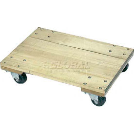 "Wesco® 24x16 Solid Deck Hardwood Dolly 272063 4"" Casters 1200 Lb. Cap."