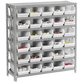 "Steel Shelving with 30 4""H Plastic Shelf Bins Ivory - 36x12x39-7 Shelves"