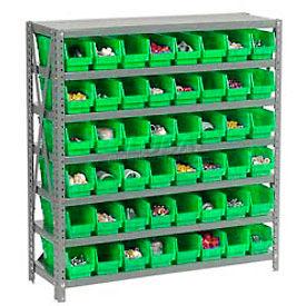 "Steel Shelving with 48 4""H Plastic Shelf Bins Green, 36x12x39-7 Shelves"