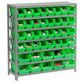 "Steel Shelving with Total 42 4""H Plastic Shelf Bins Green, 36x12x39-7 Shelves"