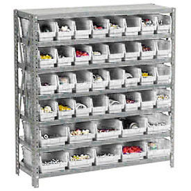 "Steel Shelving with Total 42 4""H Plastic Shelf Bins Stone White, 36x12x39-7 Shelves"