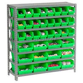 "Steel Shelving with Total 36 4""H Plastic Shelf Bins Green, 36x12x39-7 Shelves"