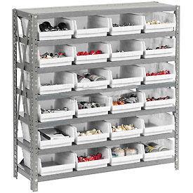 "Steel Shelving with 24 4""H Plastic Shelf Bins Ivory - 36x18x39-7 Shelves"
