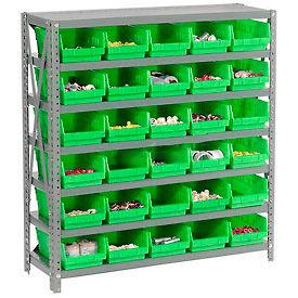 "Steel Shelving with 30 4""H Plastic Shelf Bins Green, 36x18x39-7 Shelves"