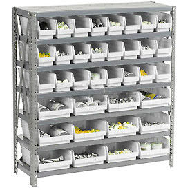 "Steel Shelving with Total 36 4""H Plastic Shelf Bins Stone White, 36x18x39-7 Shelves"