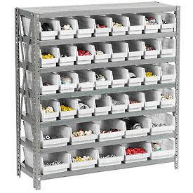 "Steel Shelving with Total 42 4""H Plastic Shelf Bins Stone White, 36x18x39-7 Shelves"