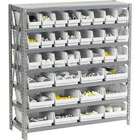 "Steel Shelving with 48 4""H Plastic Shelf Bins Ivory - 36x18x39-7 Shelves"